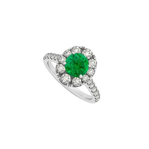 Fine Jewelry Vault 2 Carat Emerald May and CZ April Birthstone 14K White Gold