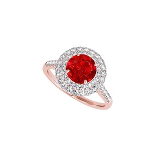 Fine Jewelry Vault Round Created Ruby And Cz Halo Engagement Ring In 14k Rose Gold