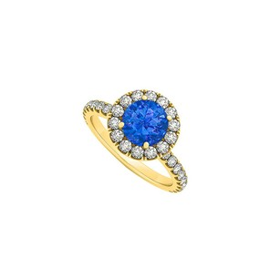 Fine Jewelry Vault Round Sapphire And Cubic Zirconia Halo Engagement Ring In 14k Gold