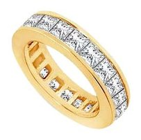 Fine Jewelry Vault 7 Carat Eternity Band Princess Cut AAA+ CZ Eternity Band Channel Set on 18K Yellow Gold Vermeil