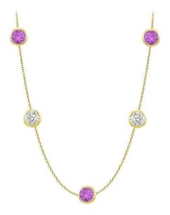 Fine Jewelry Vault Amethyst and CZ Station Necklace By The Yard