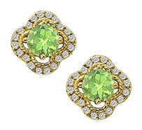 Fine Jewelry Vault August Birthstone Peridot with CZ Earrings in 14K Yellow Gold