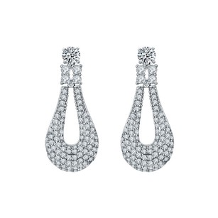 Fine Jewelry Vault Big Cubic Zircon Loop Style Drop Earrings in White Hue