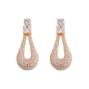 Fine Jewelry Vault Big Cubic Zircon Loop Style Drop Earrings in Yellow Hue