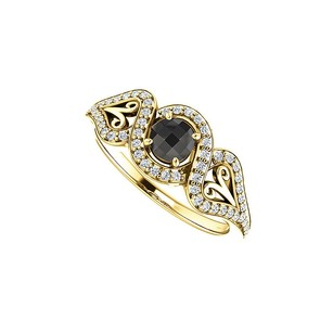 Fine Jewelry Vault Black Onyx and CZ Cross Over Ring in 14K Yellow Gold