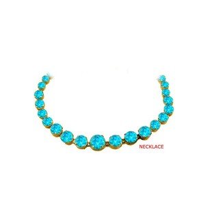 Fine Jewelry Vault Blue Topaz Graduated Necklace 18K Yellow Gold Vermeil