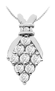 Fine Jewelry Vault Brilliant Cut Diamond Pendant in 14K White Gold 1.00 Carat Diamonds