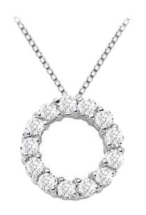 Fine Jewelry Vault Circle of love diamond pendant necklace in white gold 14k