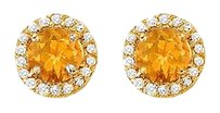 Fine Jewelry Vault Citrine and CZ Halo Stud Earrings 14K Yellow Gold 2.25 CT TGW