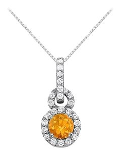 Fine Jewelry Vault Citrine with CZ Halo Pendant in 14K White Gold
