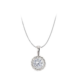 Fine Jewelry Vault Conflict Free Diamond Round Pendant in 14K White Gold