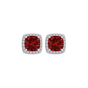 Fine Jewelry Vault CZ Cushion Cut Ruby Square Halo Earrings 14K Gold