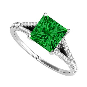 Fine Jewelry Vault Emerald and Cubic Zirconia Split Shank Ring in 14K White Gold