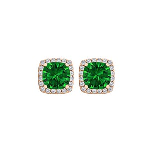 Fine Jewelry Vault Emerald and CZ Halo Stud Earrings in 14K Rose Gold