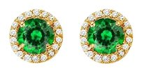 Fine Jewelry Vault Emerald and CZ Halo Stud Earrings in 14kt Yellow Gold 2.25 CT TGW