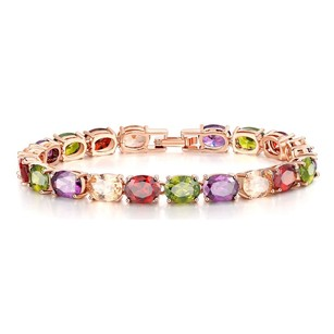 Fine Jewelry Vault Fancy Multi Color Oval Gemstones Bracelet in Rose Hue