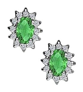 Fine Jewelry Vault Fancy Oval Emerald and CZ Halo Stud Earrings in 14K White Gold