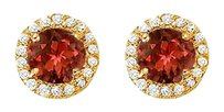 Fine Jewelry Vault Garnet and CZ Halo Stud Earrings 14K Yellow Gold 2.25 CT TGW