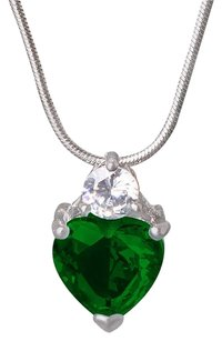 Fine Jewelry Vault Green Gemstone Heart CZ Pendant in White Hue For Women