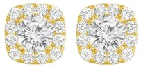 Fine Jewelry Vault Halo Stud Earrings with CZ in 14K Yellow Gold For Her
