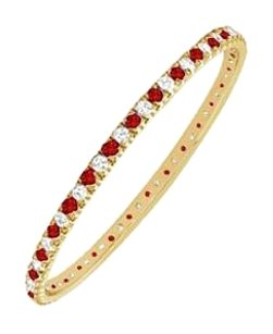 Fine Jewelry Vault July Ruby and April Birthstone CZ Bangle For Your Love