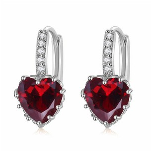 Fine Jewelry Vault Latest Cubic Zirconia Red Heart Lever Back Earrings