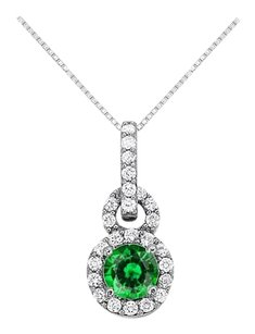 Fine Jewelry Vault May Birthstone Emerald with CZ Halo Pendant in 14K White Gold