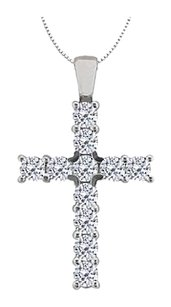 Fine Jewelry Vault Religious Diamond Cross Pendant in 14K White Gold 0.33 Carat Diamonds