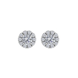Fine Jewelry Vault Round Cubic Zirconia Halo Stud Earrings Push Back Gold