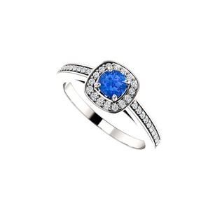 Fine Jewelry Vault Round Sapphire and CZ Square Halo Ring 14K White Gold