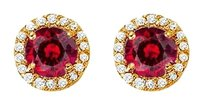 Fine Jewelry Vault Ruby and CZ Halo Stud Earrings in 14kt Yellow Gold 2.25 CT TGW