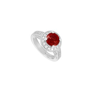 Fine Jewelry Vault Ruby and Diamond Engagement Ring 14K White Gold 4.00 CT TGW