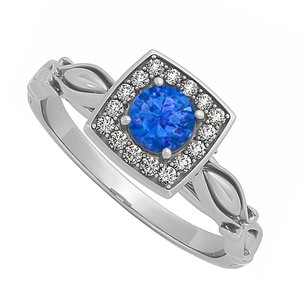 Fine Jewelry Vault Sapphire and Cubic Zirconia Ring in 14K White Gold