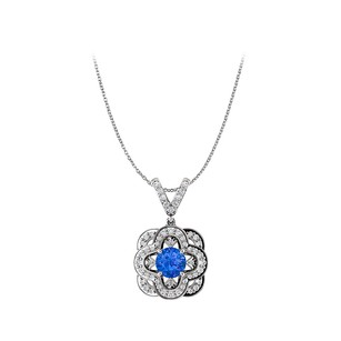 Fine Jewelry Vault Sapphire and CZ Accented V Shape Bail Fancy Pendant