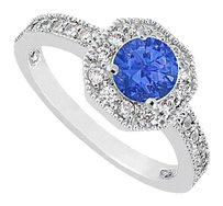Fine Jewelry Vault Sapphire & CZ Milgrain Engagement Ring 14K White Gold 1 CT TGW