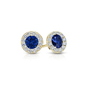 Fine Jewelry Vault Sapphire and Diamond Halo Stud Earrings in 14K Yellow Gold 1.00.ct.tw