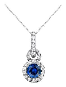Fine Jewelry Vault Sapphire with CZ Halo Pendant in 14K White Gold