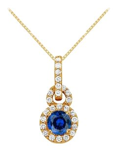 Fine Jewelry Vault Sapphire with CZ Halo Pendant in 14K Yellow Gold