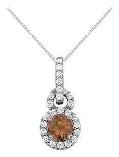 Fine Jewelry Vault Smoky Quartz with CZ Halo Pendant in 14K White Gold