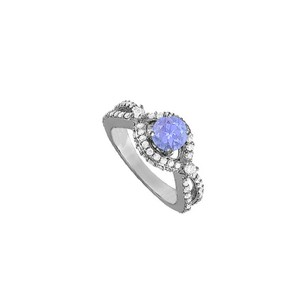 Fine Jewelry Vault Tanzanite and CZ Ring in 925 Sterling Silver 2.25 TGW