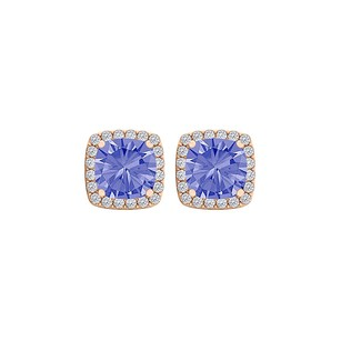Fine Jewelry Vault Tanzanite CZ Halo Earrings Push Back 14K Rose Gold
