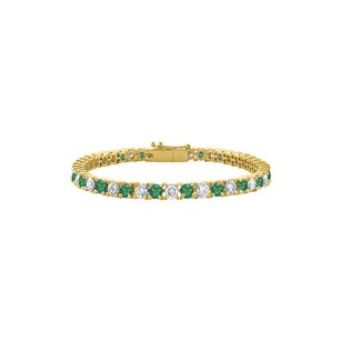Fine Jewelry Vault Tennis Bracelet Emerald Created and Cubic Zirconia in 18K Yellow Gold
