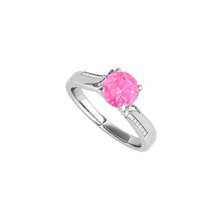 Fine Jewelry Vault White Gold Engagement Ring with Pink Sapphire and CZ