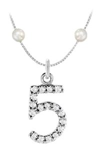 FineJewelryVault Cubic Zirconia and Cultured Pearl Numeric 5 Charm Pendant 925 Sterling Silver 0.08 CT TGW