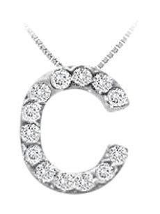 FineJewelryVault CZ Initial Sterling Silver C Pendant