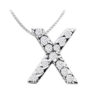 FineJewelryVault CZ Initial Sterling Silver X Pendant