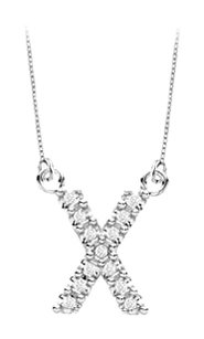 FineJewelryVault Petite Baby Charm Cubic Zirconia X Initial Pendant 925 Sterling Silver 0.15 CT TGW