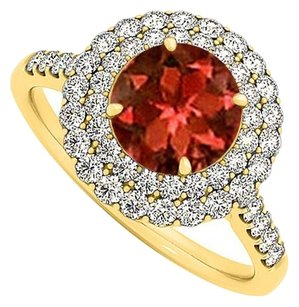 LoveBrightJewelry Garnet and Cubic Zirconia Ring in Yellow Gold Vermeil