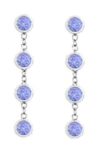 finejewelryvault Tanzanite By The Yard Earrings with Designer Inspired Chain in 14K White Gold One Carat TGW