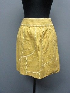 Floreat Embroidered Lined Side Zip Full Sma 7824 Skirt golden yellow